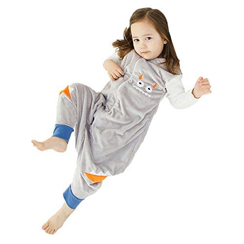 Happy Cherry - Niños Niñas Mono Saco de Dormir Dibujo Animado Algodón Infantil Pijama de Franela Cremallera para Bebé - Gris - M(2-4 años)