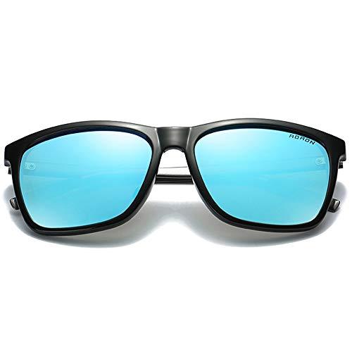 Stella Fella Gafas de sol polarizadas de color policarbonato, marco negro, lentes negro/verde/azul para hombre y mujer con la misma conducción (color: azul)