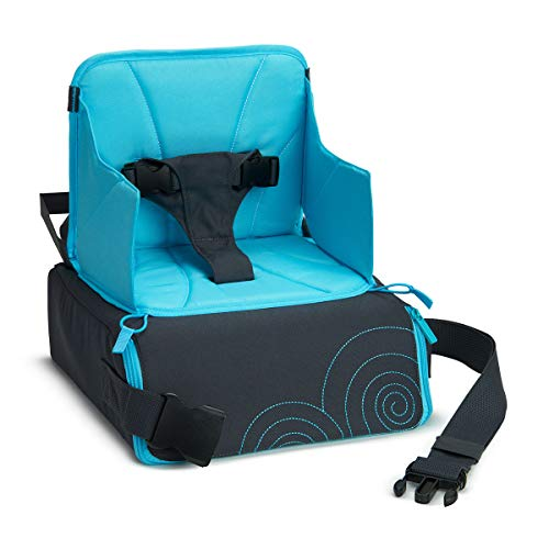 Brica by Munchkin Travel Booster Seat With Underseat Storage And Strap To Convert Into Handy Portable Carry Bag For Dining On-The-Go, Wipe Clean, For Children Up To 15 kg/33.1 lbs, Blue/Grey
