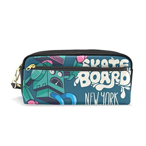 Federmäppchen mit großer Kapazität und Geldbörse mit Roboter-Skateboard, wasserdichte Make-up-Tasche für Studenten oder Frauen