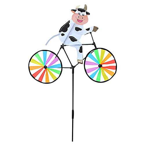 NKK Vintage Bicycle Spinner Garden Stake with Standing Pole, Cute Animal on Bicycle Wind Sculptures Garden Ornaments Outdoor, Garden Pathway Home Yard Lawn Decoration, Kids Toy Gift (cow)