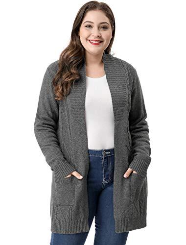 uxcell Donna Plus Size Collo Sciallato Cardigan Maglione Anteriore Aperto Grigio 1x Grigio 1X
