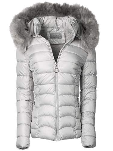 Damen Winter Jacke Parka Mantel Winterjacke Teddyfell gefüttert Fell Kapuze, Größe:XXL, Farbe:Silber