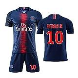 WDGZ Kinder Fußball Trikot Shorts Sets # 10 Něymǎr Jugend 18-19 Navy Home Soccer Collection Kurzarm Fitness Shirt Top 2XS