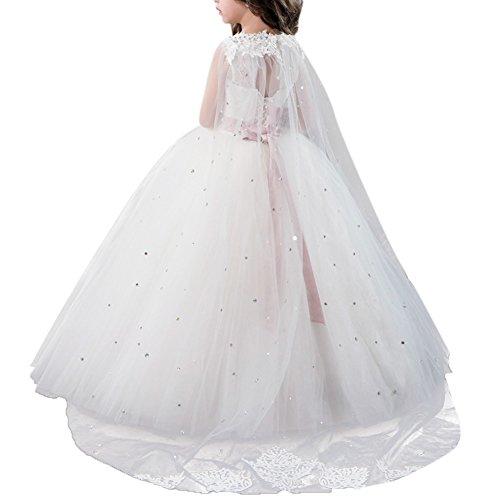 OBEEII Niñas Vestidos de Primera Comunion Vestido Apliques Encaje Bordado Elegantes Princesa Vestidos de Fiesta Boda Noche Ceremonia Gala Pageant Cóctel Prom para Chicas 10-11 Años