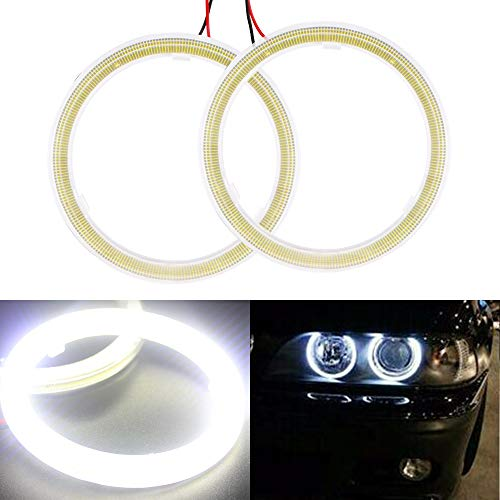 Everbrightt 1-Pair White 90MM 66SMD COB LED Angel Eyes with Housing Halo Ring Light Bulbs