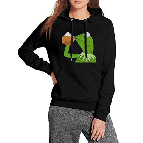BSKLE Womens Funny-Green-Frog-Sipping-Tea Pullover Hoodie Sweatshirt Cool Coat Black Fleece