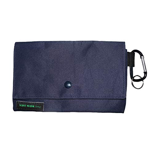 SAFE MASK BAG Bolso Porta Mascarillas 1 Compartimento (Azul Marino con Interior Carta Correos)