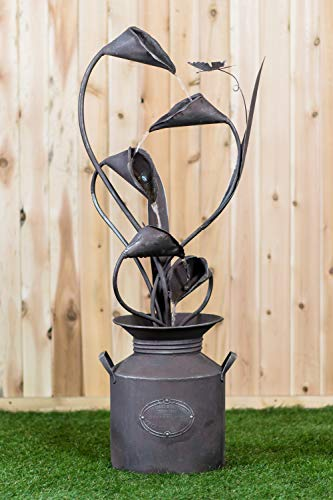 Calla Lily with Leaves in a Jug Metal Fountain