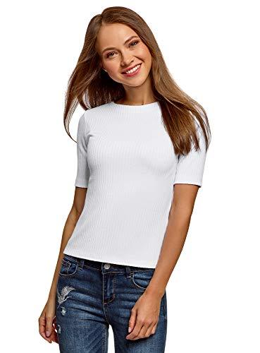 oodji Ultra Damen Gerippter Pullover mit Rundhalsausschnitt, Weiß, DE 38 / EU 40 / M