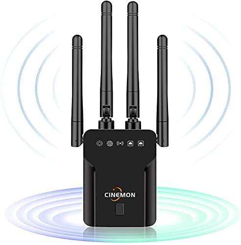 CINEMON WLAN Verstärker 1200Mbit/s WLAN Repeater, 2.4G/5G Dualband WiFi Repeater mit LAN Anschluss, Abdeckung bis zu 200 m², Einfache Einrichtung, Funktioniert mit Allen WLAN-Routern (Schwarz)