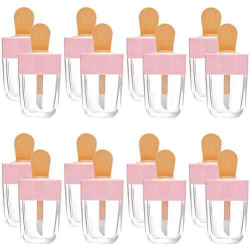 Opplei Lot de 16 tubes à lèvres vides en forme de crème glacée Rose Transparent
