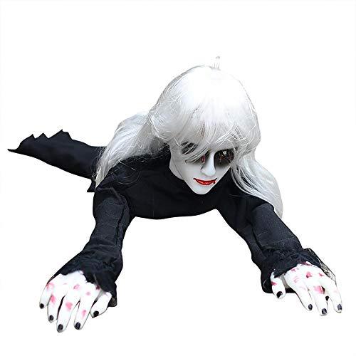 Decoración de Halloween eléctrica Crawling para mujer fantasma con inducción o Touching Prank Props Zombie para haunted House Halloween Party, negro