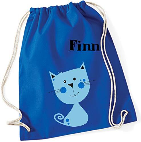 Turnbeutel mit Namen | Motiv Kätzchen Katze | personalisiert & Bedruckt | Stoffbeutel Schuhbeutel Sportbeutel für Kinder Jungen & Mädchen | inkl. NAMENSDRUCK | blau grau süß