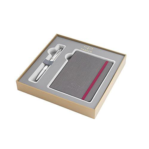 PARKER Urban estuche con bolígrafo y libreta de la colección British, Color Perla metalizado Premium con adornos cromados