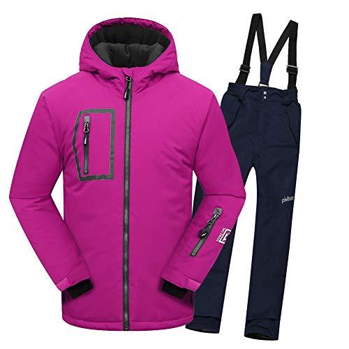 SXSHUN Niños/Niñas Traje de Esquí con Bolsillos Chaqueta Impermeable Forro Polar de Nieve Pantalones para Deportes de Invierno