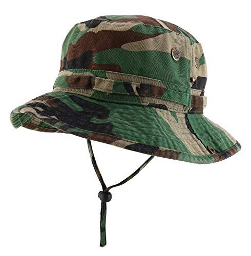 Armycrew Big Oversized Jungle Boonie Bucket Hat with Chin String Fits Upto XXXL - Camo - XL-2XL