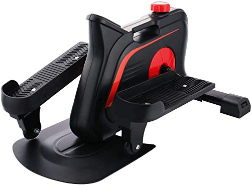 JACKCOMCOM Under Desk Elliptical Machine, Compact Elliptical Under Desk Bike Trainer with Built-in Display Monitor & Unlimited Resistance & Smooth Quiet Belt Drive, Mini Strider for Home Office Use