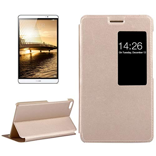 JIANGHONGYAN Case For Huawei MediaPad M2 Youth Version 7.0 Litchi Texture Horizontal Flip Leather Case with Holder & Smart Window (Color : Gold)