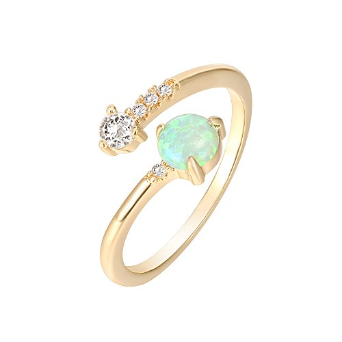 PAVOI 14K Yellow Gold Plated Adjustable Created Green Opal Rings | Stacking Rings | Gold Rings for Women