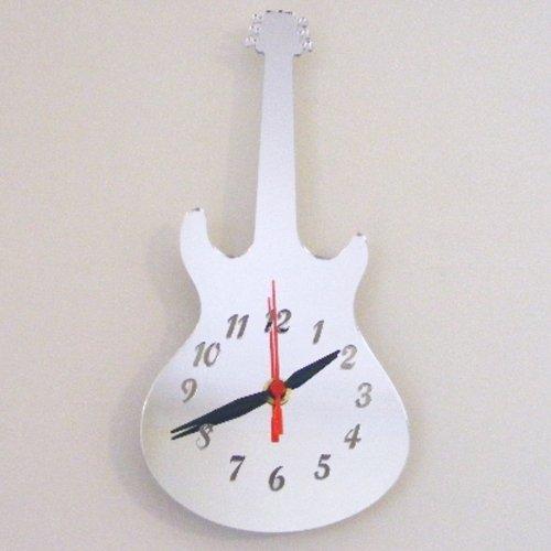 Super Cool Creations 40 X 20 cm Acrylique Style Epiphone Horloge Guitare Électrique, Argent