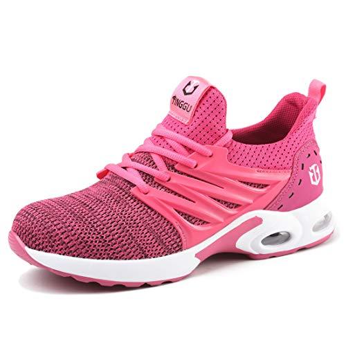 YISIQ Sicherheitsschuhe Herren Leicht Arbeitsschuhe Damen Stahlkappe Schutzschuhe Sportlich Atmungsaktiv Turnschuhe Industrie Sneaker, rosa, 38