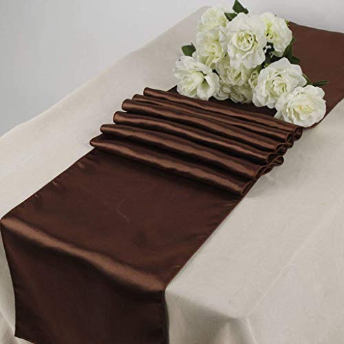 OWS Pack of 10 Wedding 12 x 108 inch Satin Table Runner Wedding Banquet Decoration-Coffee/Brown/Choclate