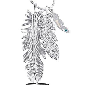 Federnzauber BomWod Kette, Edelstahl Halskette 75 cm, inkl. hochwertige Geschenkbox, Damenschmuck, Halskette Damen, Geschenk für Frauen, Das Hoffnungssymbol der Engel,