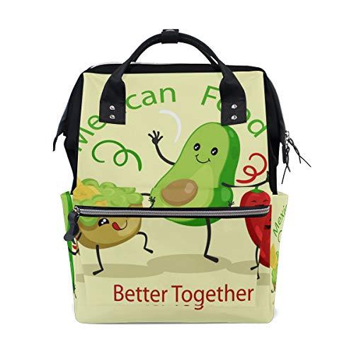 Divertidas bolsas de pañales de comida mexicana Kivi Chili Emotion, de gran capacidad, multifunción, mochila para viajes
