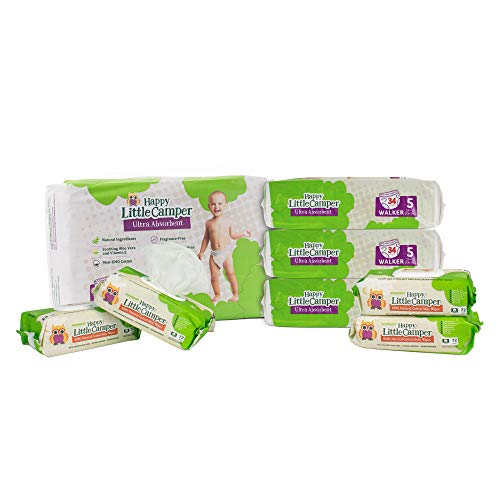 Happy Little Camper Natural Diapers, Size 5 (+27 lbs) - Disposable Cotton Baby Diapers with Aloe, Ultra-Absorbent, Hypoallergenic and Fragrance Free for Sensitive Skin (136) with Cotton Wipes (288)