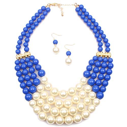 YAZILIND Vintage Novia joyería Conjunto imitación Perla Collar con Pendientes Boda Accesorios Gatsby Accesorios de Disfraces Conjunto color3