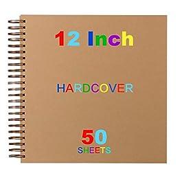 12×12 Scrapbook Album | Hardcover Scrapbook Album | Kraft Hardcover Notebook with 50 Sheets | Scrapbook and Life…