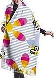 Tengyuntong Bufanda de mantón Mujer Chales para, Divertida bufanda para mujer con diseño de abeja y girasol, bufanda grande y suave, sedosa, de cachemira y pashmina