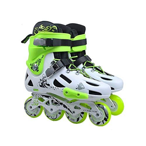 Taoke Inline-Skates, Erwachsene einreihig Skates Professionelle Männer und Frauen Skates Kind Anfänger Voll Flash (Farbe: Grün, Größe: EU 34 / US 3 / UK 2 / JP...