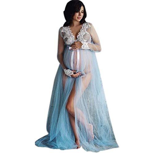 MEIbax Damen Spitze Umstandskleid Schwangerschaft Spitze Langes Maxikleid Fotoshooting Mesh Spitze Festlich Lange Maternity Gown Split Front Fotografie Stützen Kleid