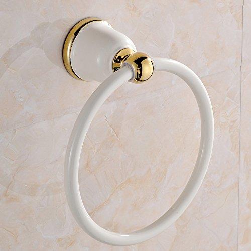 Rustikale Badezimmer Zubehör gebackenes weißes gold runde Handtuchhalter Handtuchhalter Handtuchhalter Handtuchhalter ring ring ring, vergoldet