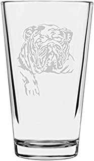 Bulldog Dog Themed Etched All Purpose 16oz Libbey Pint Glass