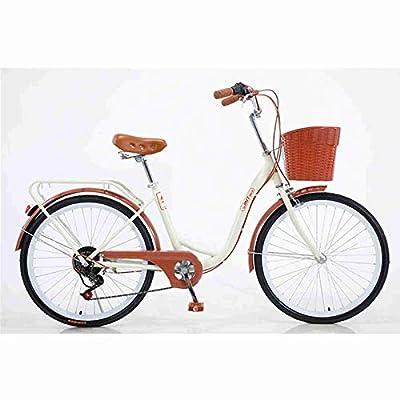 WOFACAI 24 Inch 26 Inch Wheels Beach Cruiser Bike, 7-Speed Step-Through Hybrid Cruiser Bicycle with Rear Rack,Multiple Colors (Beige,24'')