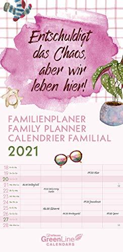 GreenLine Sprüche 2021 Familienplaner -Wandkalender - Familien-Kalender - 22x45