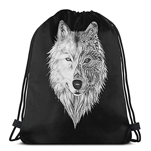 XCNGG Big Wolf Head Kordelzug Rucksack Gym Sackpack Umhängetaschen Zum Schwimmen Wandern Yoga