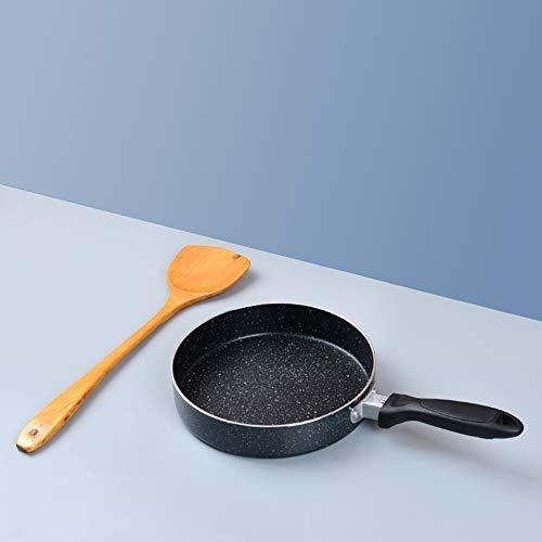 Koekenpan, Professioneel Anti-aanbak Koekenpannen Inductie Eenvoudig schoon te maken Koekenpannen Schep Hout Zwart Inductie voor koken Bakken 20 cm