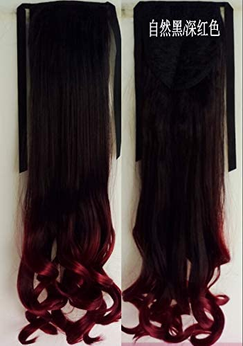 WIG MINE Color de moda peluca cola de caballo bicolor falso ...