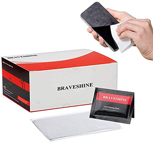 BRAVESHINE Screen Wipes - Pre-Moistened Lens Wipes - Lens Cleaner for Eyeglasses Glass Camera TV Keyboards Tablet Phone Watch Electronics - 100 Pack Individually Wrapped Lens Cleaning Wipes + 1 Cloths