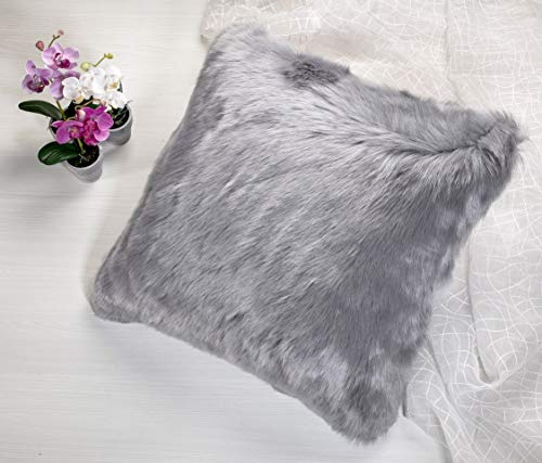 Chesserfeld Faux Fur Throw Pillow, Gray, 18in x18in, Decorative Accent for Bed, Living Room Couch, or Dorm Room, Soft, Authentic Sheepskin Feel, Boho Style, Removable and Washable Cover