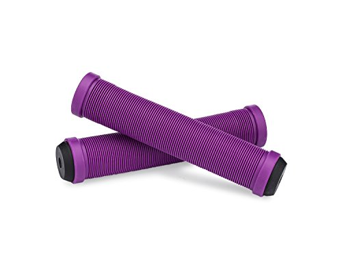 25NINE Ronin Grip Without Flange - Flangeless BMX Bike and Scooter Handlebar Grips with End Plugs - Purple