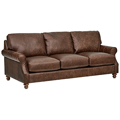Stone & Beam Charles Classic Oversized Leather Sofa, 92'W, Sod