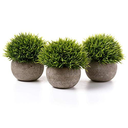 T4U Künstliche Grün Gras Bonsai Kunstpflanze mit grauen Topf, für Hochzeit/Büro/Zuhause Dekoration - 3er Set