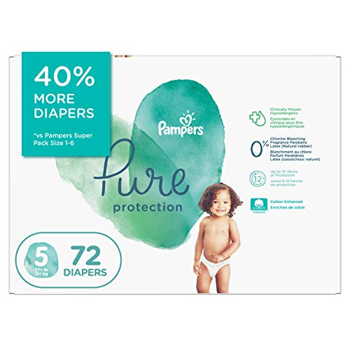 Diapers Size 5 - Pampers Pure Protection Disposable Baby Diapers, 72 Count,...