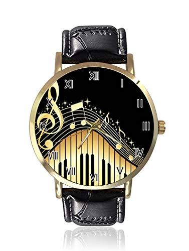 Orologi da polso vintage con pianoforte astratto e nota musicale, unisex, alla moda, in pelle, casual, al quarzo, orologio da polso