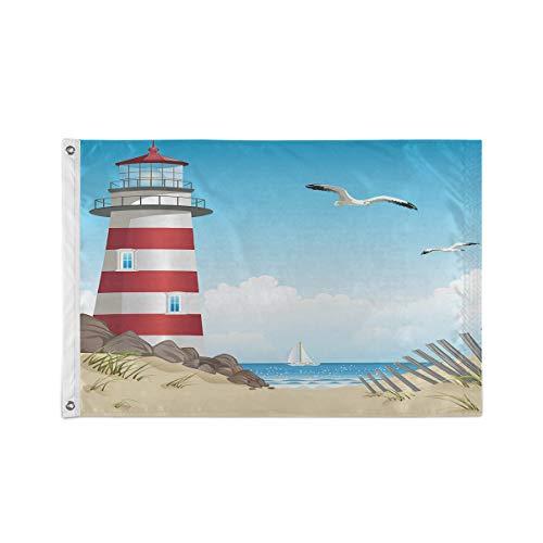 Kcldeci 90 x 150 cm große Flagge mit Leuchtturm & Strand im Sommer, Möwe & Segelboot auf dem Ozean, Gartenflaggen, 90 x 150 cm